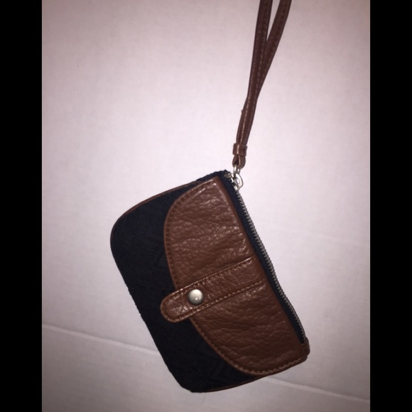 Aeropostale Handbags - Black lace & faux leather wristlet by Aeropostale